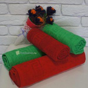 Махровое полотенце с греческим бордюром 50х90 см.