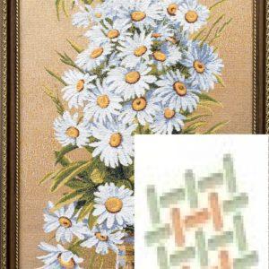 Картина гобеленовая «Букет белые ромашки»