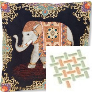 Подушка гобеленовая «Индийский слон удача»