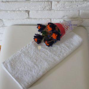 Полотенце белое 400 гр/м2 без бордюра 40х70 см.