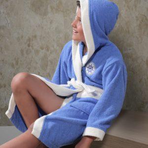 Халат детский махровый «KARNA» с капюшоном SILVER голубой