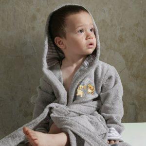 Халат детский махровый «KARNA» с капюшоном TEENY серый