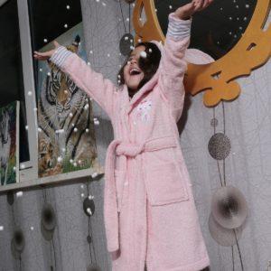Халат детский махровый «KARNA» с капюшоном TEENY розовый