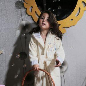 Халат детский махровый «KARNA» с капюшоном TEENY кремовый