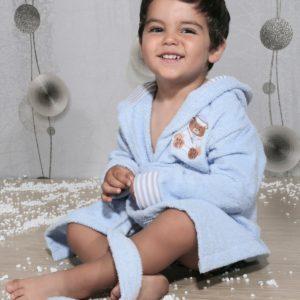 Халат детский махровый «KARNA» с капюшоном TEENY голубой